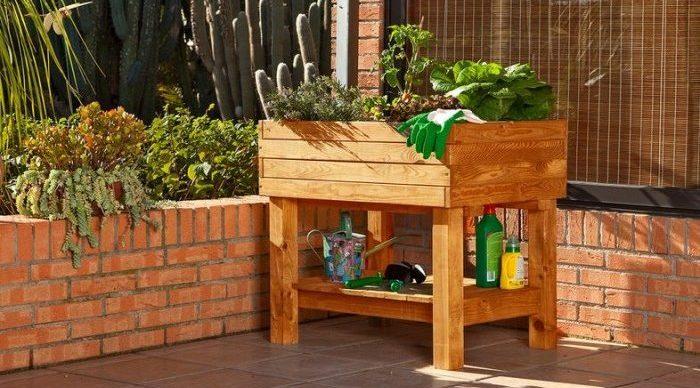 mesa cultivo madera bandeja