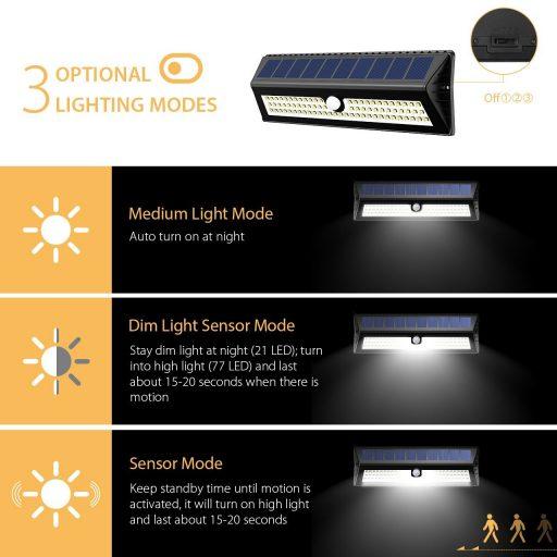 modos iluminacion led solar