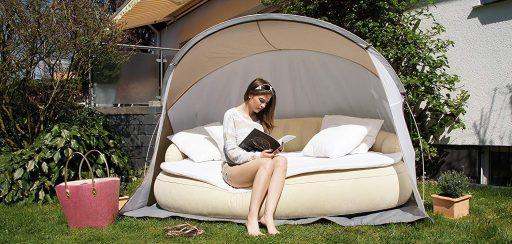 sofa hinchable jardin parasol