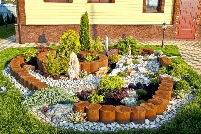 Jardines Decorados Con Piedras Decoracin De Troncos Y Decoracion Piedra Para Dentro